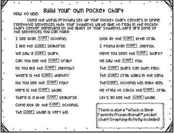 Pocket Chart Sentences With Student Books (OceanTheme)
