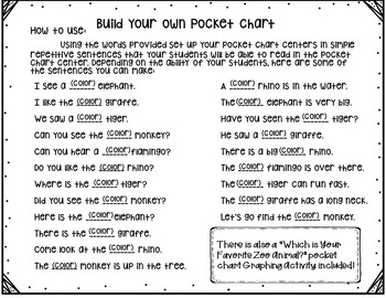Pocket Chart Sentences With Student Books (Zoo Animal Theme)