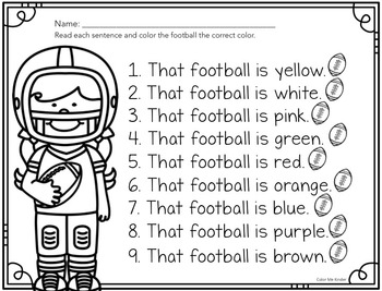 Pocket Chart Sight Word Center Football Edition: That