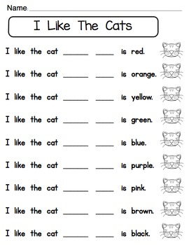 Pocket Chart Sight Word & Writing Center ~ I Like Cats - but  it