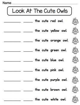 Pocket Chart Sight Word & Writing Center ~ Look at the cute owls ~ look - at
