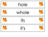 Pocket Chart Spelling November (Weeks 12-14)