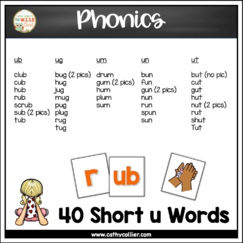 Pocket Chart Word Builders Set:  Short U