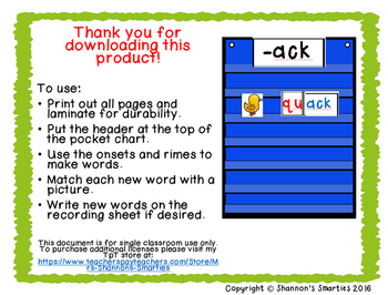 Pocket Chart Word Families (-ICK)