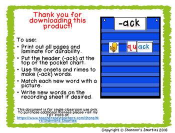 Pocket Chart Word Families (Short A Word Families) BUNDLE
