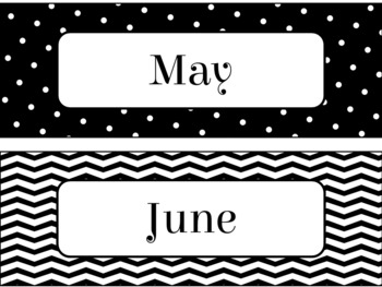 Pocket Chart or Linear Calendar in Black and White Theme