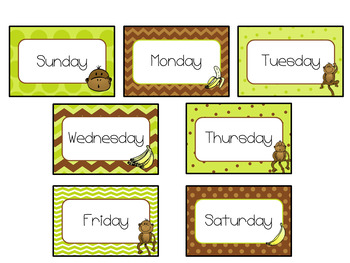 Pocket Chart or Linear Calendar in Monkey  Theme
