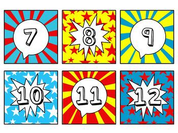 Pocket Chart or Linear Calendar in Comic Book Theme