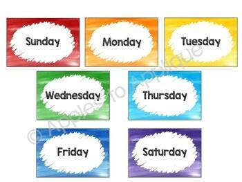 Classroom Calendar in Rainbow Theme