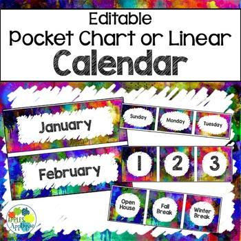 graphic about Printable Classroom Calendar identified as Clroom Calendar within just Watercolor Concept