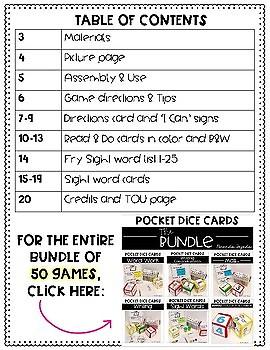 Pocket Dice Cards FREEBIE