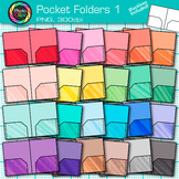 Rainbow Pocket Folder Clip Art {Back to School Supplies for Resources} 1