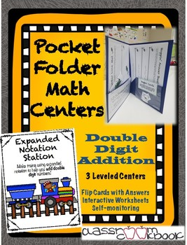 Pocket Folder Math Centers- Double Digit Addition with Expanded Notation