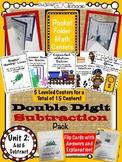 Pocket Folder Math Centers- Double Digit Subtraction Bundle Pack