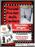 Pocket Folder Math Centers- Double Digit Subtraction with