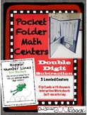 Pocket Folder Math Centers- Double Digit Subtraction with Number Lines