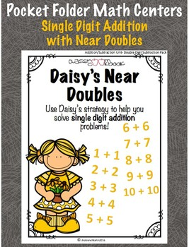 Pocket Folder Math Centers- Single Digit Addition with Near Doubles