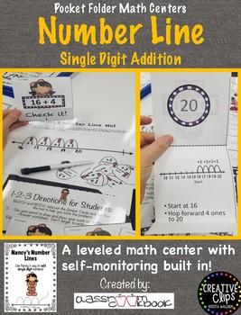 Pocket Folder Math Centers- Single Digit Addition with Number Lines