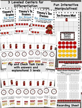 Pocket Folder Math Centers- Single Digit Addition with Ten Frames