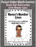 Pocket Folder Math Centers- Single Digit Subtraction with Number Lines
