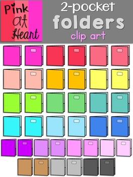 2 Pocket Folders Clip Art