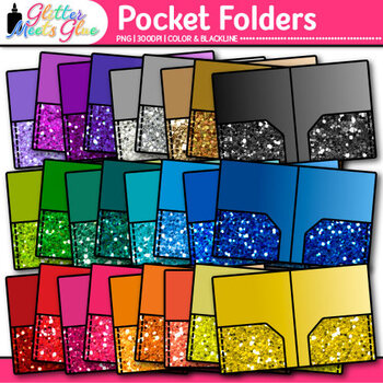 Pocket Folder Clip Art {Rainbow Glitter Back to School Sup