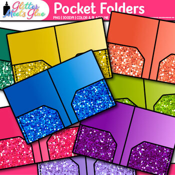 Pocket Folder Clip Art {Rainbow Glitter Back to School Supplies for Posters}