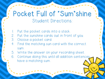 "Pocket Full of ""Sum""shine- Addition Math Sort"