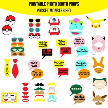 Pocket Monster Printable Photo Booth Prop Set