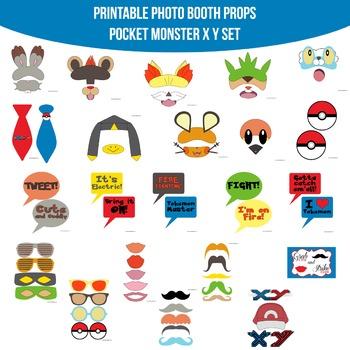Pocket Monster X Y Printable Photo Booth Prop Set