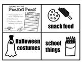 Pocket Pack! Category Word Sort (Snacks/Costumes/School)