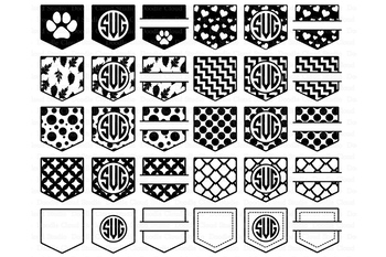 Pocket Patterns SVG, Shirt Pocket Monogram SVG files.