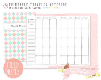 Pocket Regular Monthly Organizer Traveler Notebook Refill