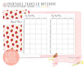 Pocket Weekly Meal Plan Traveler Notebook Refill