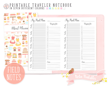 Pocket Weekly Meal Plan Traveler Notebook Refill