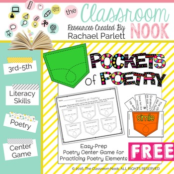 FREEBIE: Pockets of Poetry - Center Game for Poetry Elements
