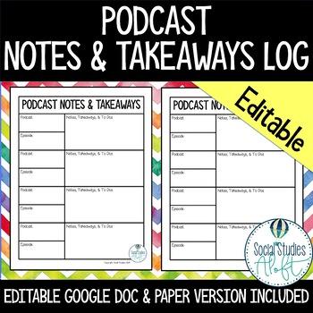 Podcast Notes & Takeaways Log for Teachers - Editable