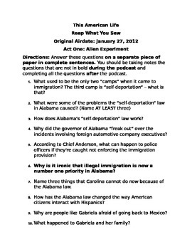 Guiding questions for This American Life's Episode on Illegal Immigration