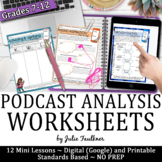 Podcast Analysis Worksheets, Digital and Printable, Distance Learning