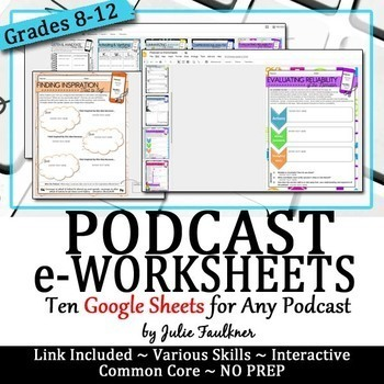 Podcast eWorksheets, Digital Graphic Organizers, Google Drive