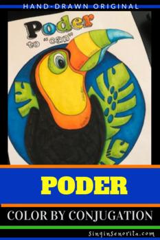 Poder Color by Pronoun Stem-Change Coloring Page