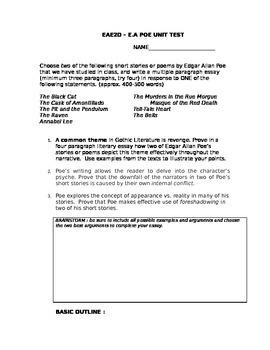 Poe Essay Topics: Four Paragraph Essay for grade 10