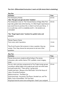 Poe Unit (Story Projects and Lit Analysis Paper)