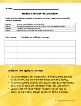 Writing Fluency: Poe Writing Prompt Task Cards, Narrative Writing, Rubric, Sub