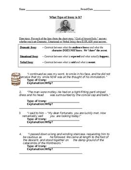 "Poe's ""Cask of Amontillado"" - Irony Worksheet"