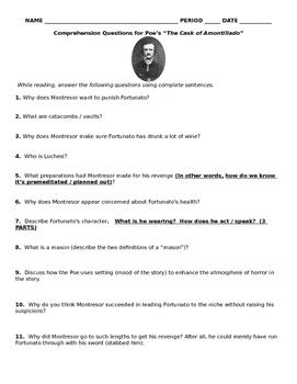 "Poe's ""Cask of Amontillado"" - Reading Questions"