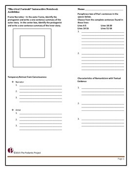 """Poe's """"The Oval"""" Portrait Text and Interactive Notebook Activities"""