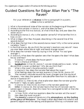 "Poe's ""The Raven"" Guided Questions"