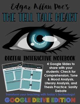 Poe's The Tell Tale Heart: Digital Interactive Notebook for Google Drive