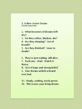 Poem, A New Green Dream, Chant